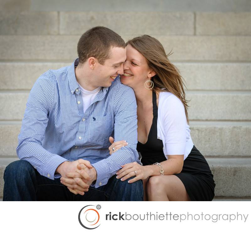 CONCORD NH ENGAGEMENT PHOTOGRAPHY STATE HOUSE STEPS