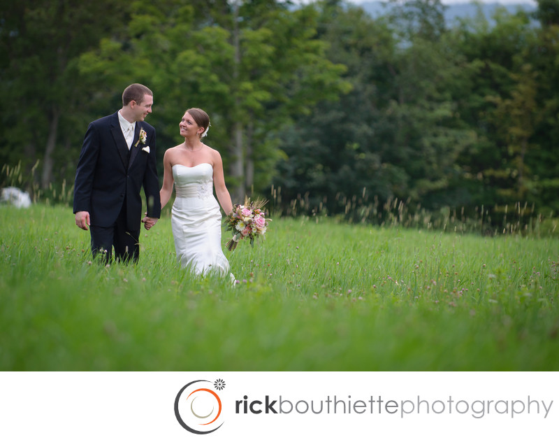 WALKING THROUGH THE HAY FIELD - NH WEDDING PHOTOGRA