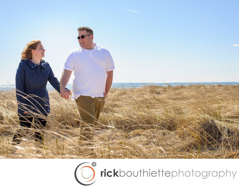 New Hampshire Seacoast Engagement On Seabrook Beach