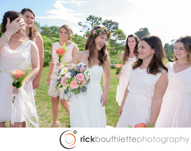 Bride + Bridesmaids Having Fun At Seacoast Science Center Wedding