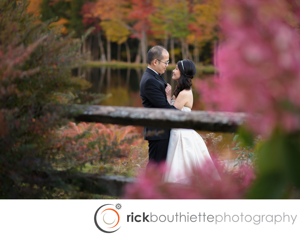 FALL COLORS SURROUND BRIDE & GROOM - INDIAN HEAD RESORT