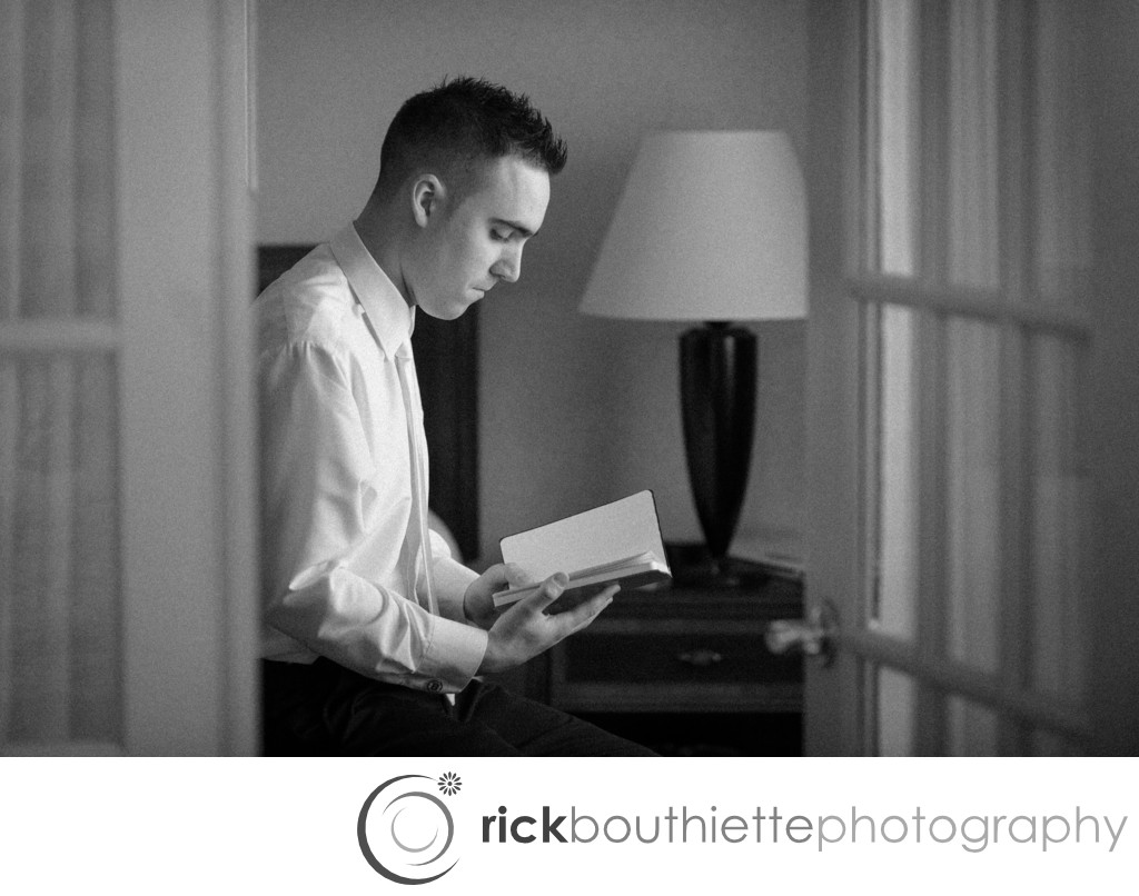 GROOM REVIEWING VOWS - BROOKSTONE PARK  WEDDING