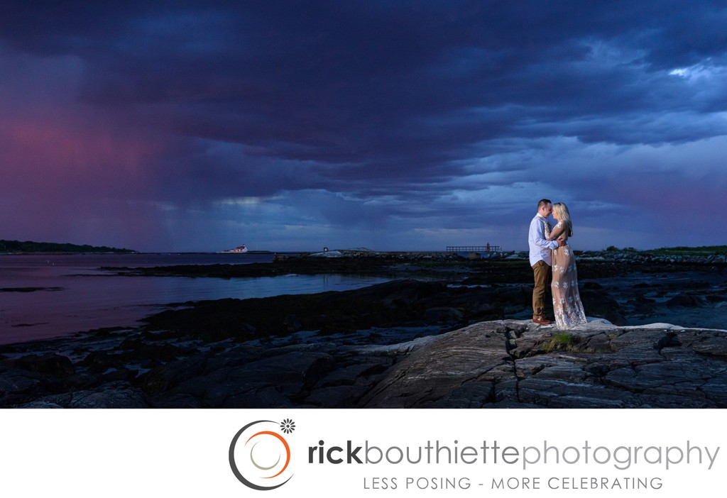 NH Seacoast Engagement Session At Dusk