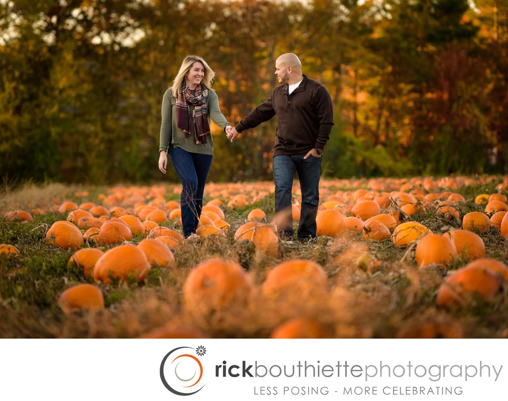 Fall Engagement Session In Pumpkin Patch