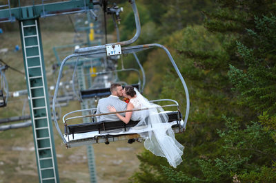 Chairlift Ride After Their Waterville Valley Resort Wedding