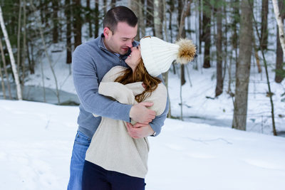Winter Engagement Photography - Tannery Hill Bridge
