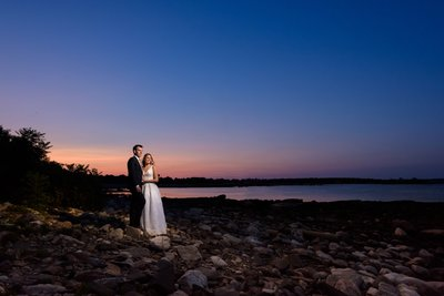 Bride & Groom at Sunset - Seacoast Science Center in NH