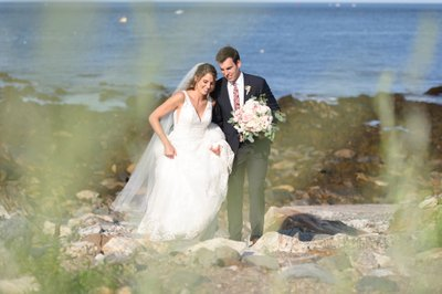 Bride & Groom Walking Along Seacoast Science Center Coastline