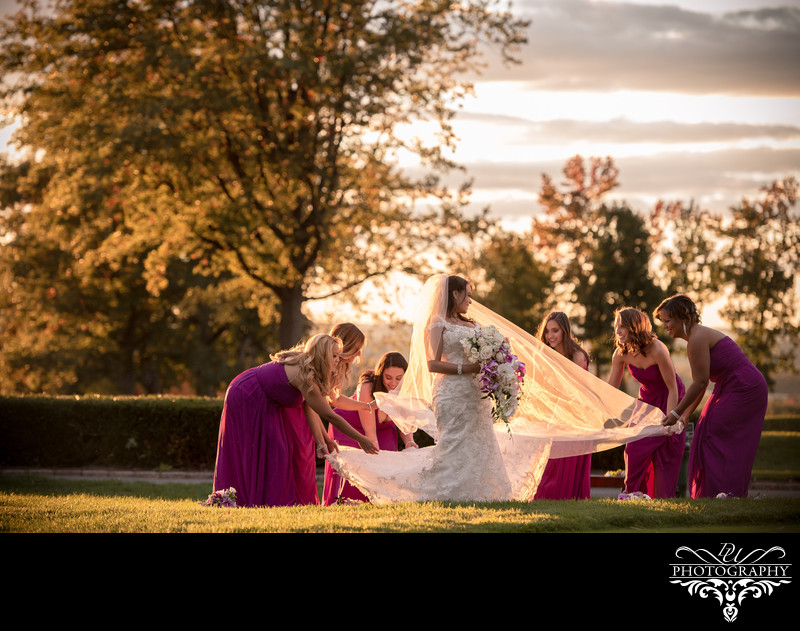 bridesmaids during sunset