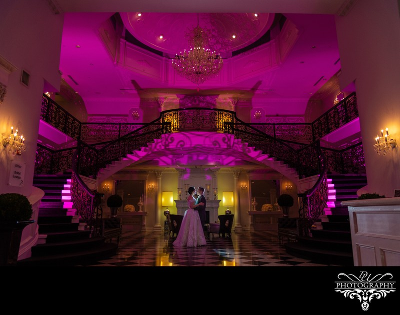 The Addison Park lobby photo of the bride and groom
