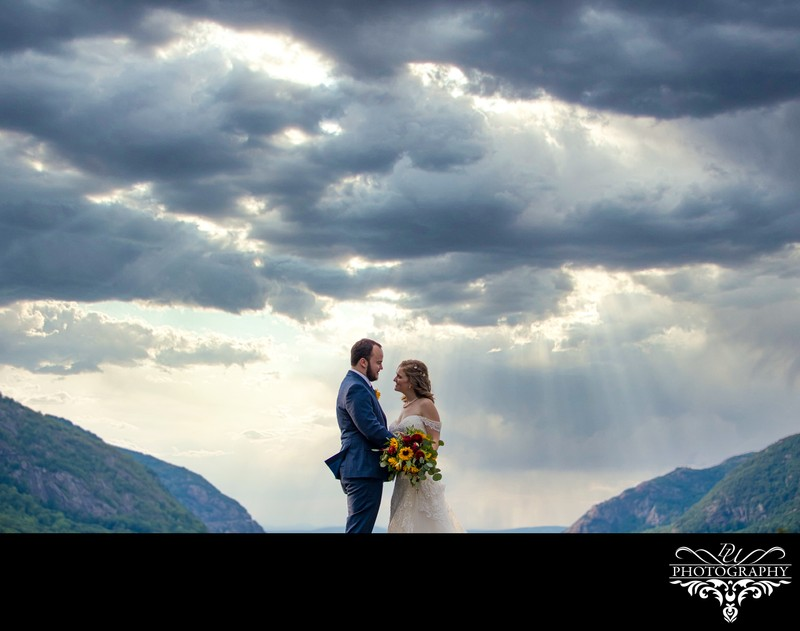 Portrait of a couple in the beautiful sky at West point