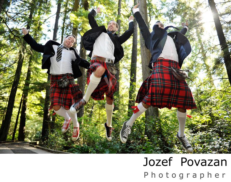 Coquitlam Groomsmen in Scottish kilts bridal portraits