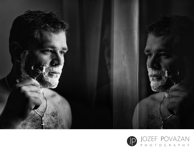 Shangri La hotel wedding photographer groom shaving fun