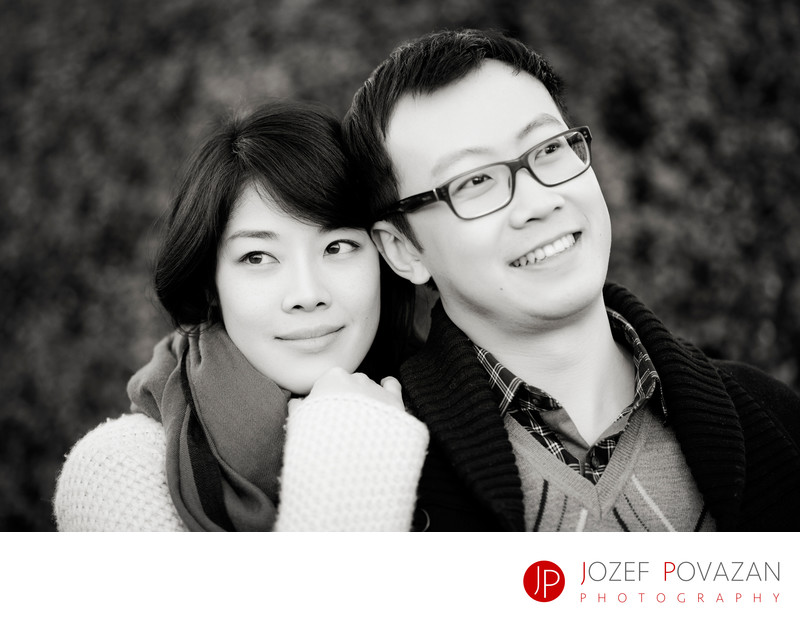 Romantic low key engagement portrait in Vancouver park