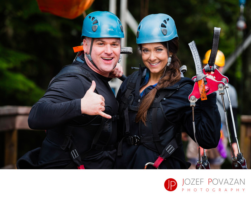 Romantic engagement Grouse Mountain zip-line adrenalin