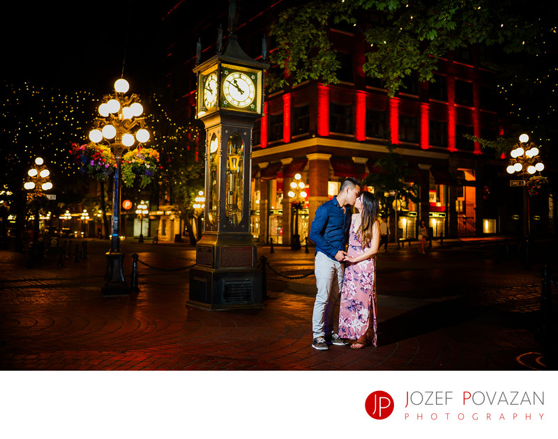 Steam Clock Gastown engagement bride kissing groom