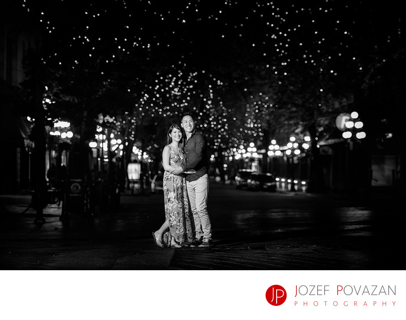 Gastown Romantic night Engagement under twinkle lights