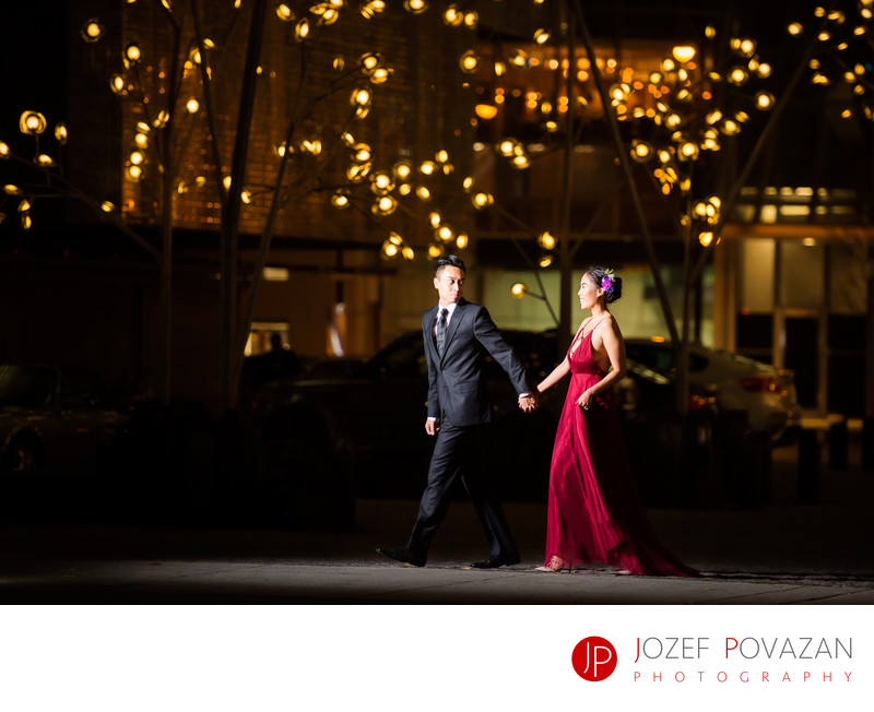 Night burgundy cocktail fashion dress engagement shoot