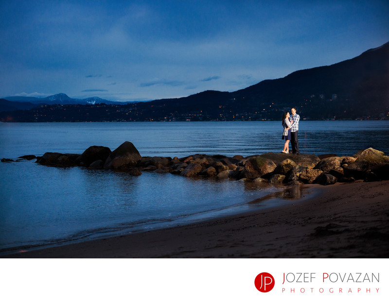 Third beach Stanley park sunset dusk engagement romance
