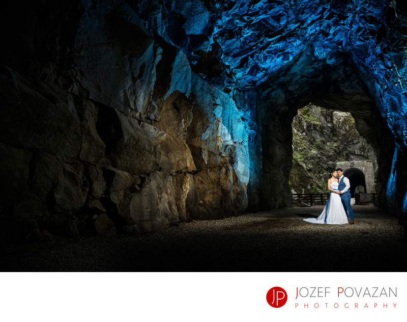 Strobing wedding portraits in Othello Tunnels, Hope, BC