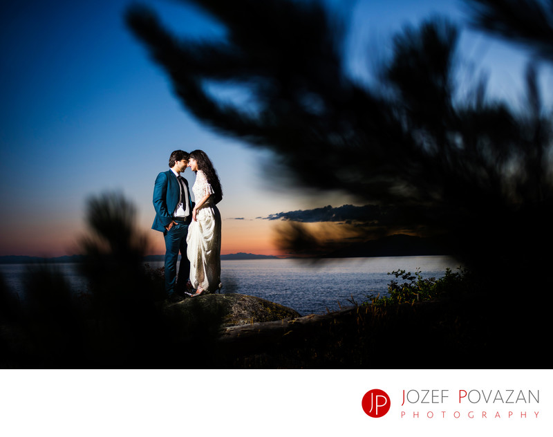 West Vancouver Lighthouse Park Sunset Wedding Portraits