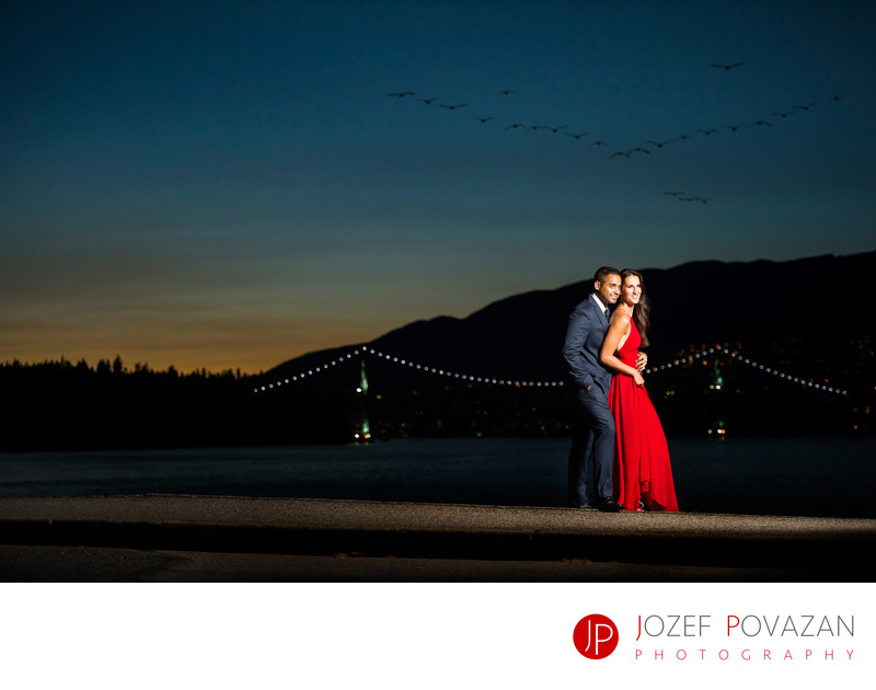 Lions gate bridge night engagement Povazan Photography