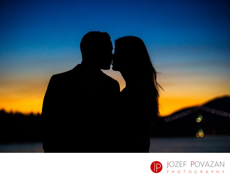 Wedding kiss at sunset is dream come true for brides.