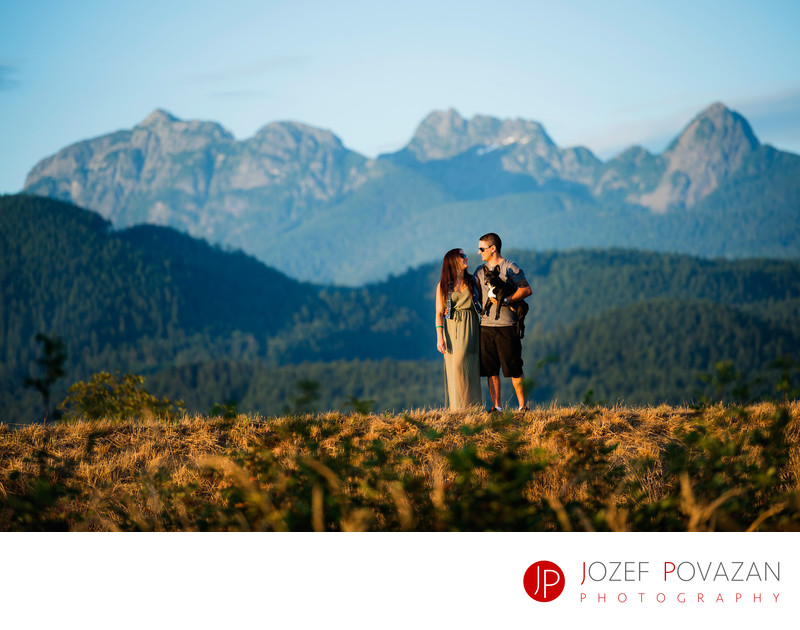 Golden Ears Engagement shoot with puppy and sunset.