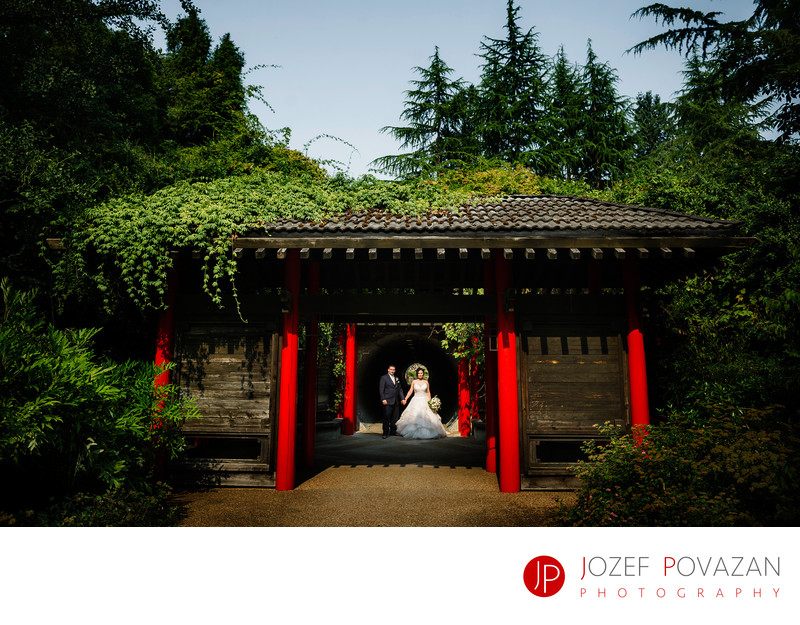 UBC Botanical Garden Wedding Chinese Gate bride groom