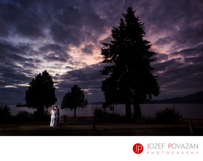Stanley Park Tea House Night Dusk Wedding Portraits