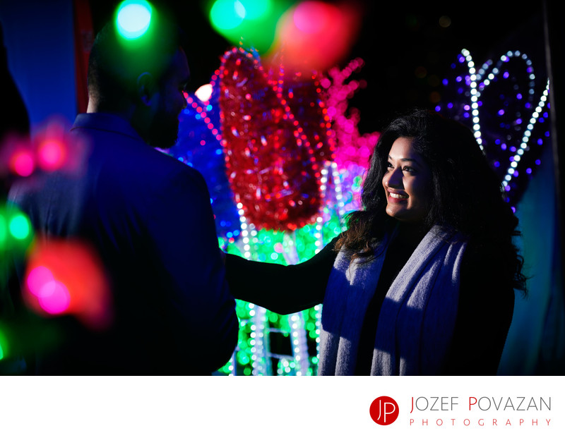 Van Dusen Gardens Christmas lights engagement pictures