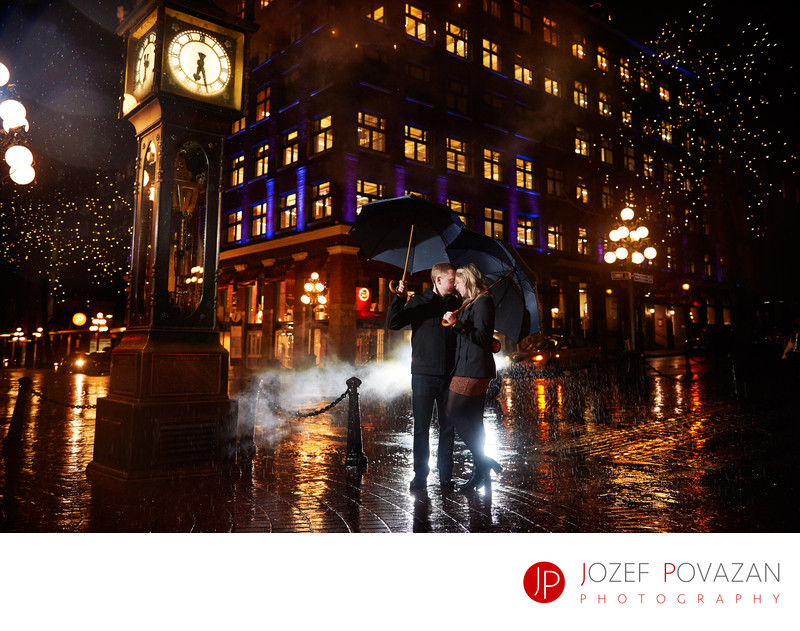 Rainy engagement pictures Gastown Vancouver night shoot