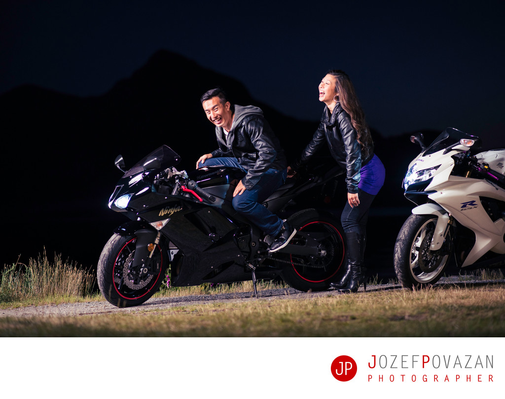 MOTO GP style Engagement Lifestyle portrait session fun
