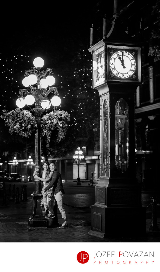 Steam Clock Gastown Engagement romantic fun photos