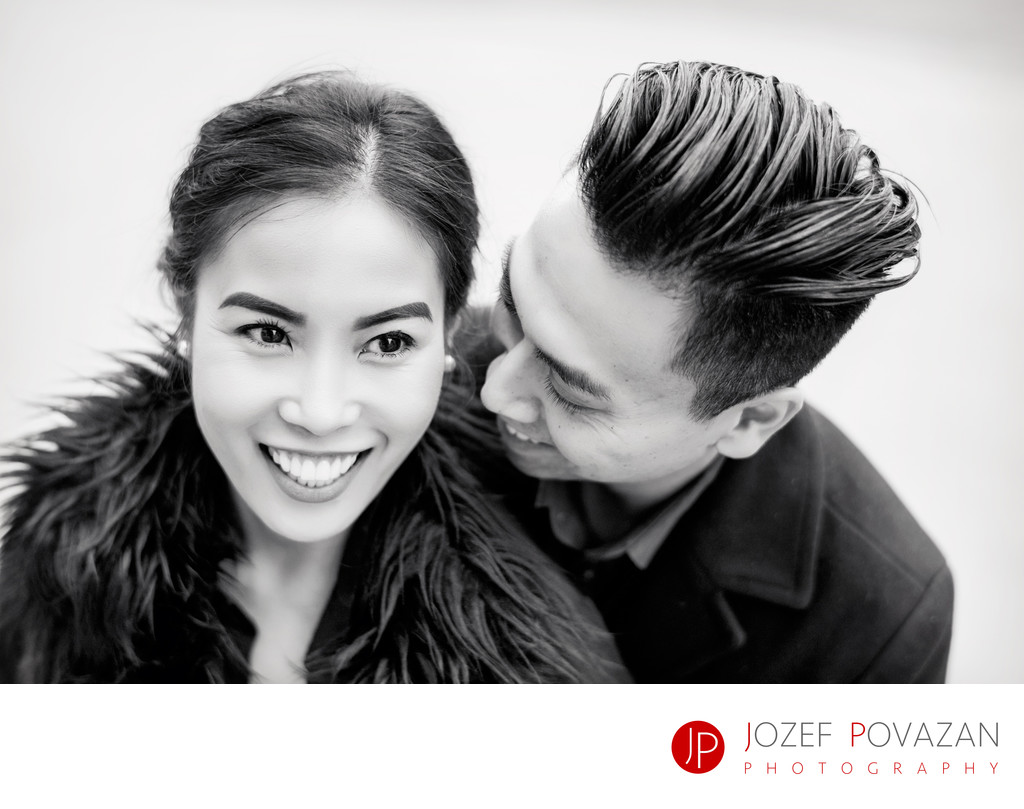 Intimate BW engagement portrait in Vancouver downtown
