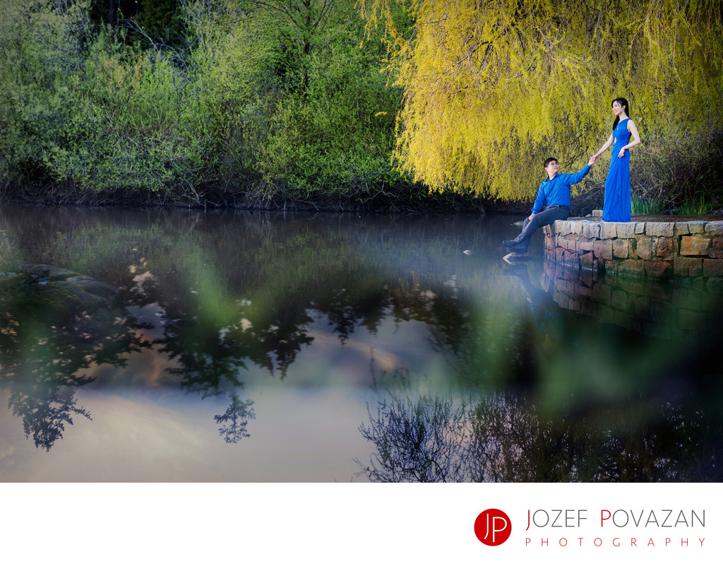 Blue dress cherry blossoms engagement pics Lost lagoon