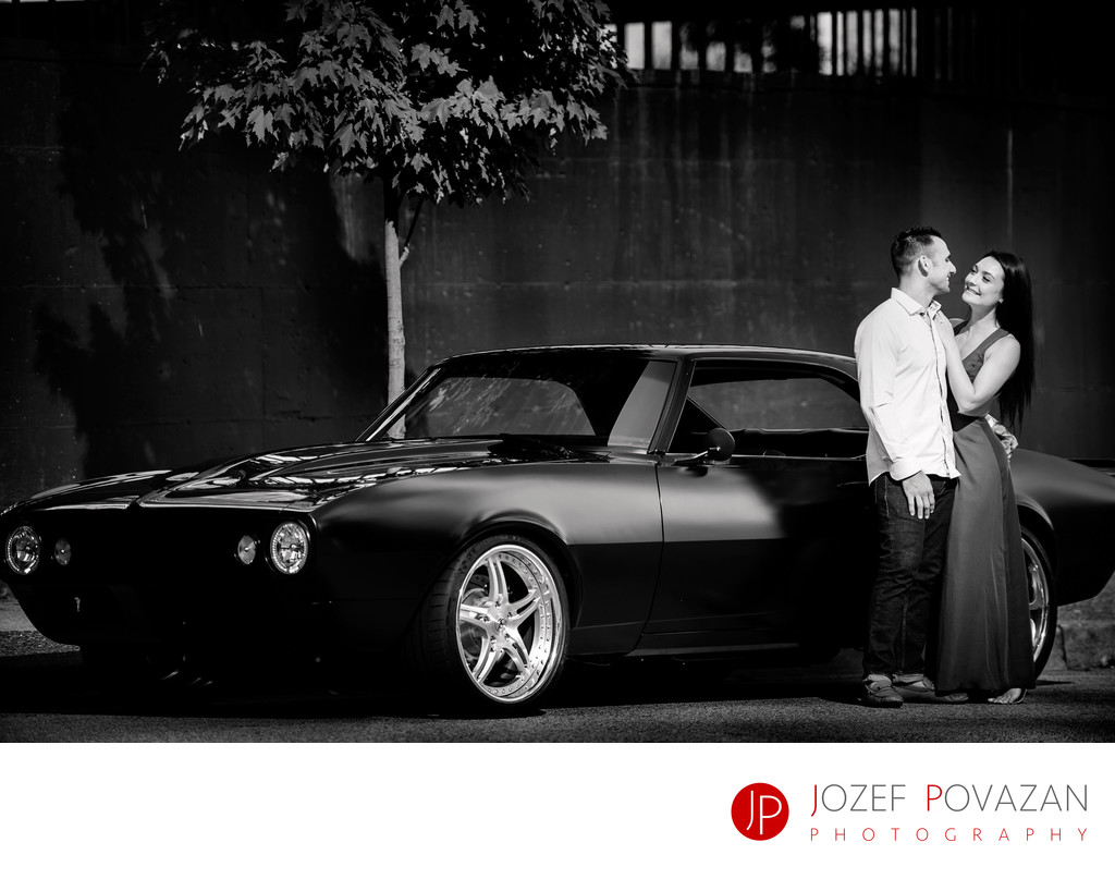 Muscle car engagement portrait shoot downtown Vancouver