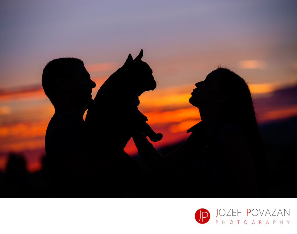 Bride, groom and puppy silhouette at pre wedding shoot
