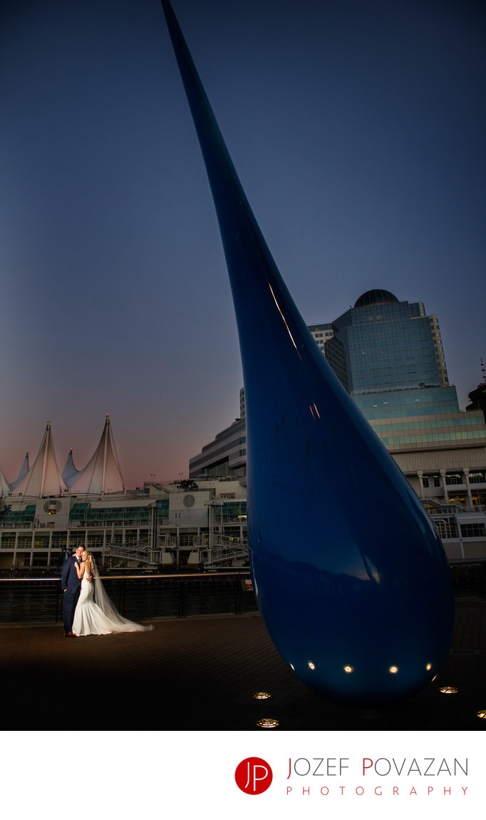 Convention Centre Wedding Photographers dusk portrait