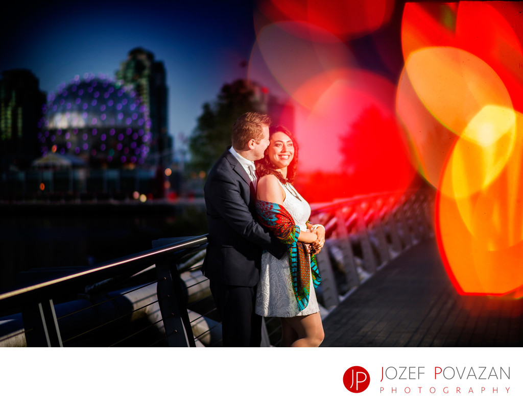 Science World False Creek Engagement session at night