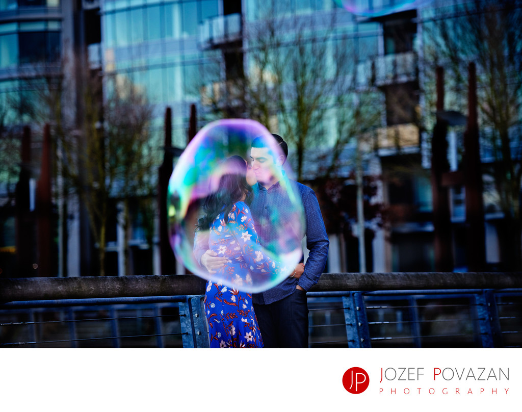Vancouver Olympic Village Soap bubbles engagement fun