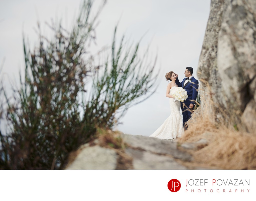 Lighthouse park wedding portraits in bohemian style