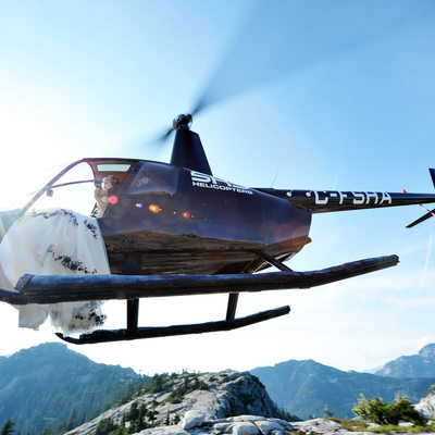 sky helicopters scenic mountain wedding pictures