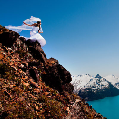 Garibaldi lake bride at Panorama peak near Whistler.