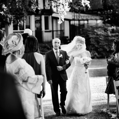Brockhouse wedding ceremony picture of bride and dad