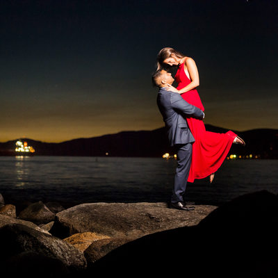 Night engagement portrait Third Beach at Tea House