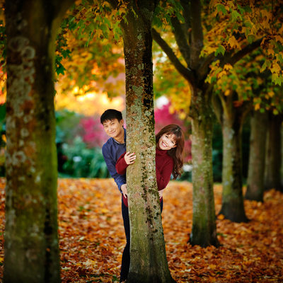 Vancouver fall engagement pictures with red maple leave