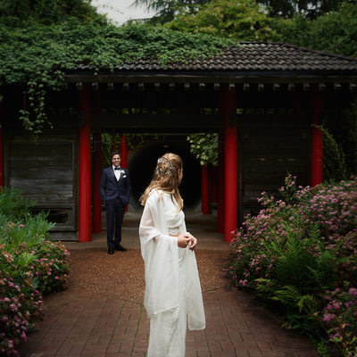 UBC Botanical Garden Wedding Photographer First Look