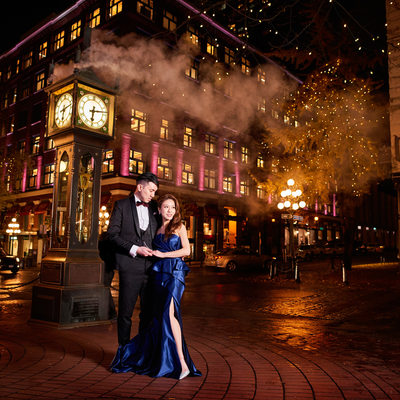 Gastown wedding portraits at night with steam clock
