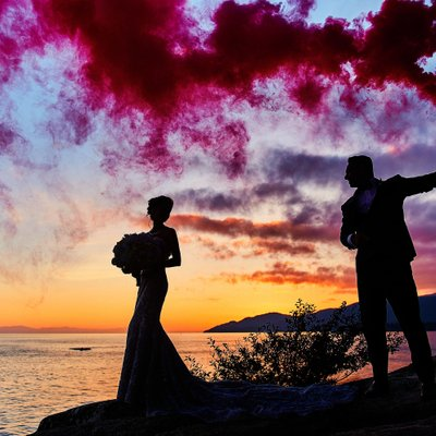 Lighthouse park smoke bombs fearless wedding portraits